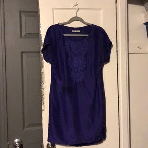 Trina Turk purple silk embroidered dress